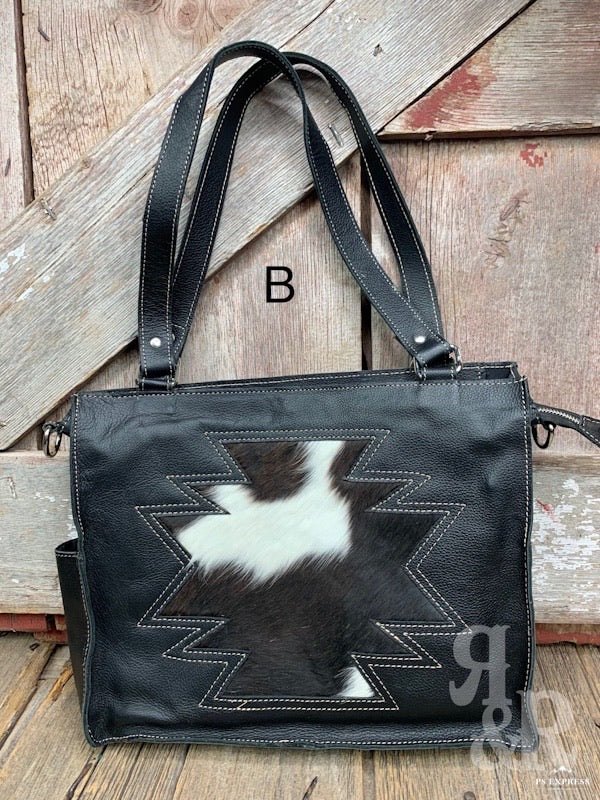 Cowhide & Leather Aztec Crossbody Tote Bag