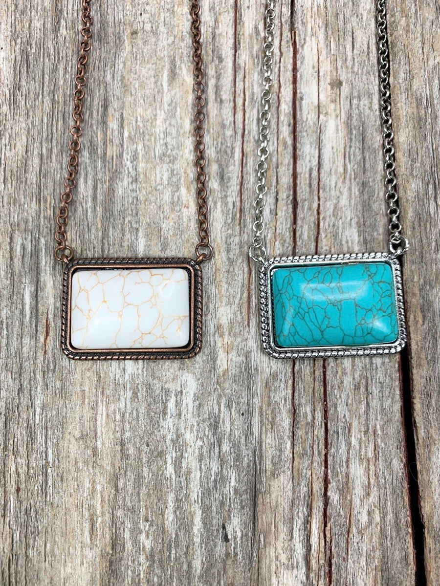 Rectangle Rita Turquoise Necklace