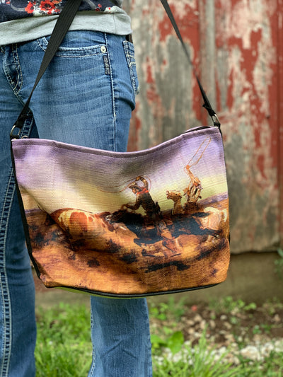 Roping Longhorn Cowboy Purse