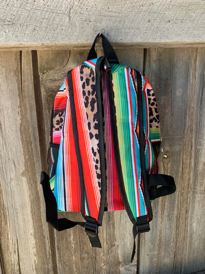 Serape Leopard Print Medium Backpack
