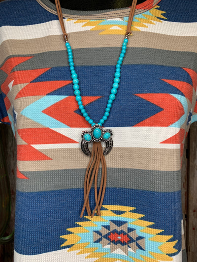 Turquoise & Leather Naja Necklace Set
