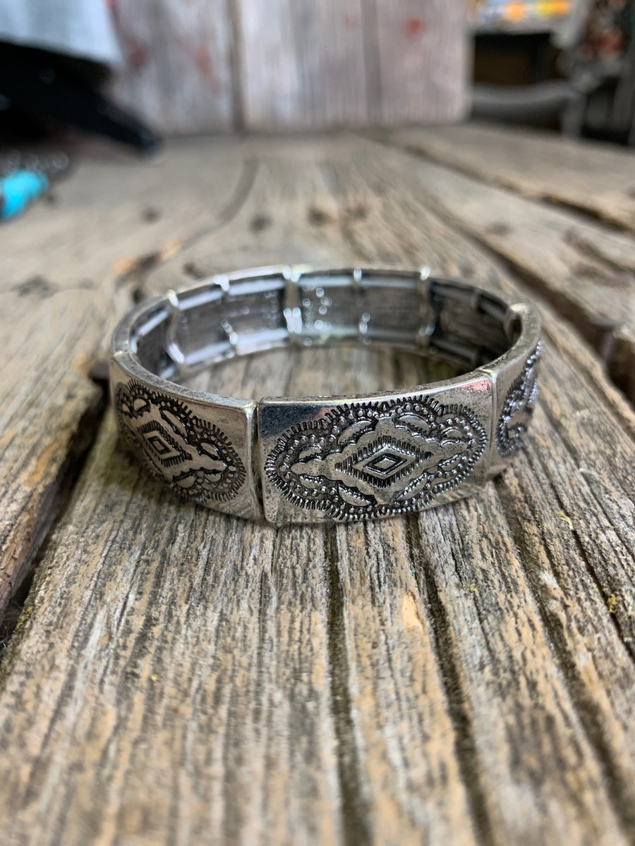 Silver Diamond Stamped Bracelet
