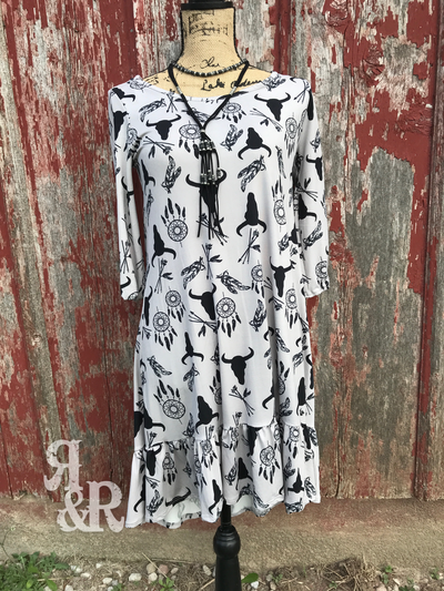 Western Print Ruffle Dress