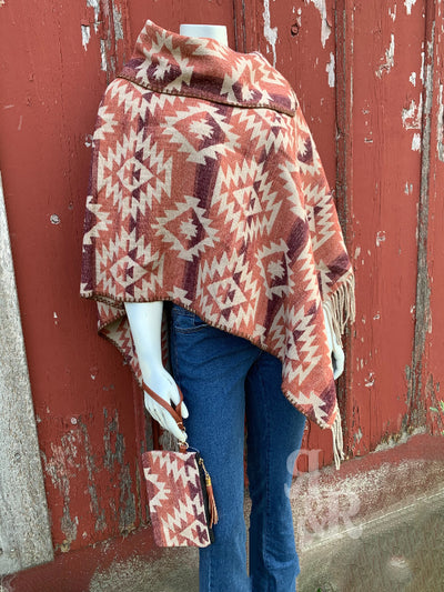 Red Aztec Blanket Poncho