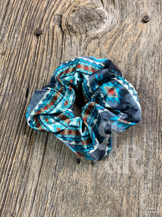 Turquoise Aztec Hair Scrunchie