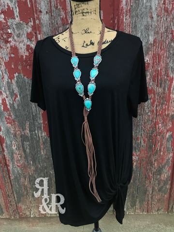 Turquoise Twist Leather Necklace