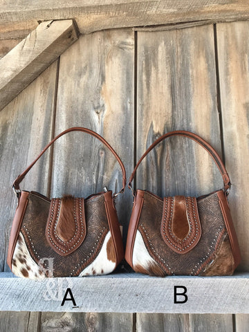 Cowhide Studded Hobo Purse - Ropes and Rhinestones