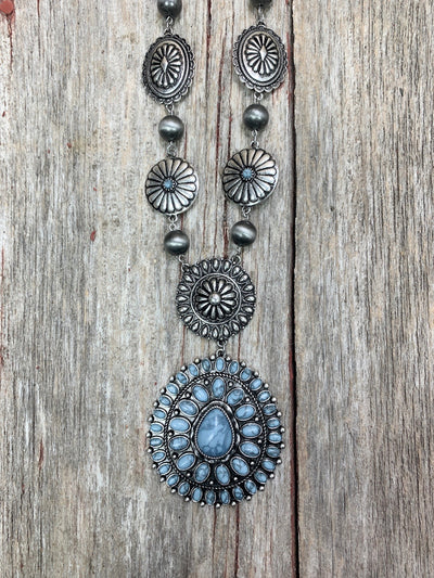 Denim Concho Necklace