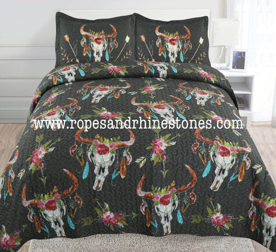 Cow Skull & Feathers Bedding Black