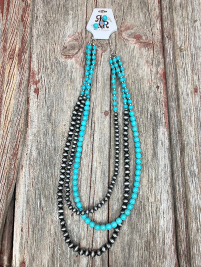 Triple Turquoise & Navajo Pearl Necklace Set