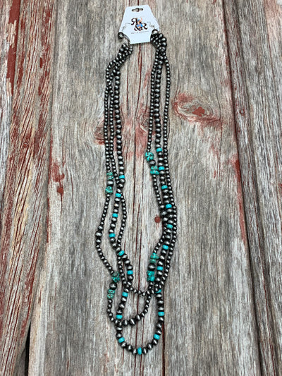 Navajo Pearl & Turquoise Triple Strand Necklace Set