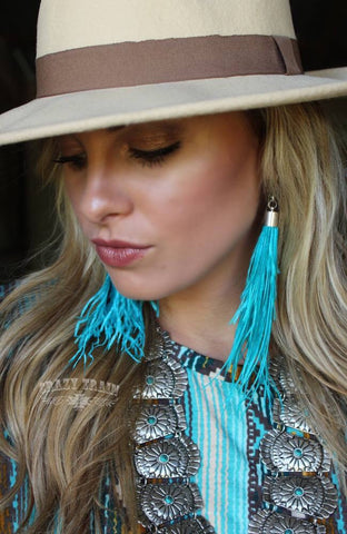 Shake Ya Tail Feather Earrings Turquoise