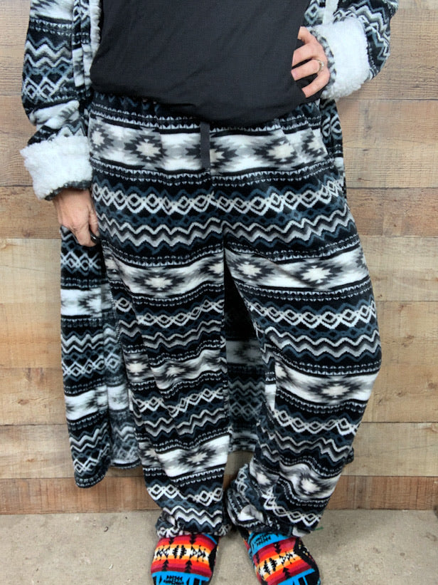 Black Aztec Fleece Pants