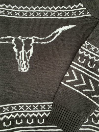 Cow Skull Black Sweater
