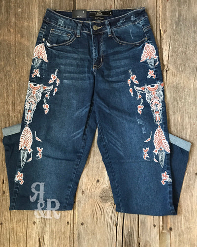 Cow Skull Embroidered Jeans - Ropes and Rhinestones