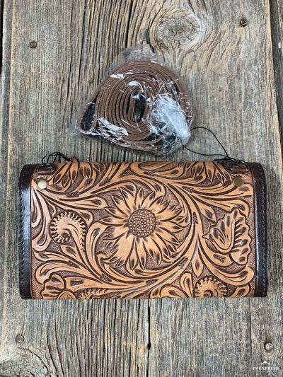 Cow Skull Tooled Crossbody Wallet