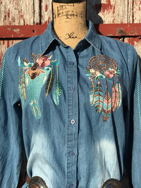 Western Embroidered Denim Dress