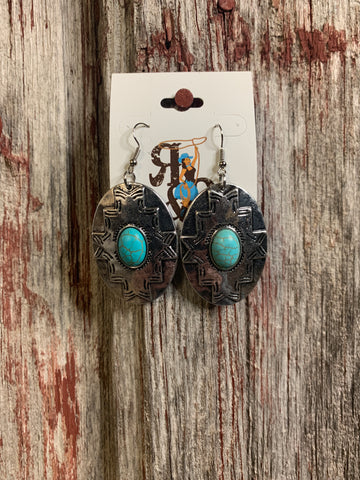 Turquoise Aztec Medallion Earrings