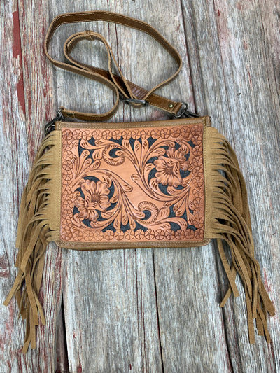 Flower Tooled & Fringe Cross Body Purse Light Oil