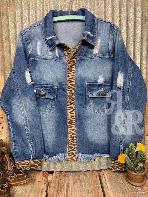 Cactus Leopard Denim Jacket