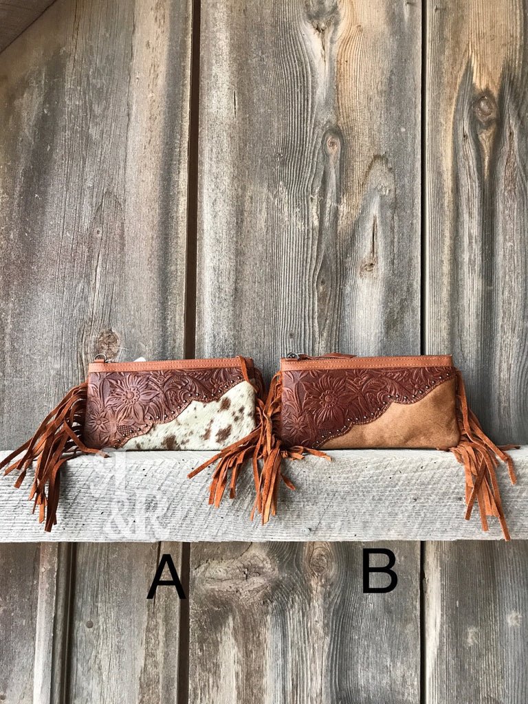 Tooled Leather & Cowhide Clutch