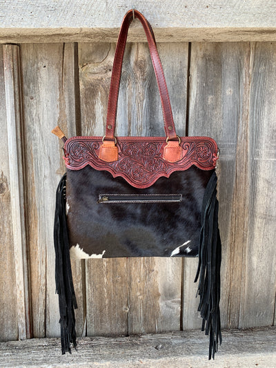Tooled Top Cowhide Fringe Purse