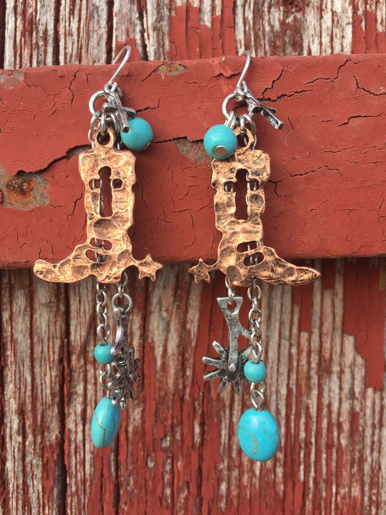 Cowboy Boot Charm Earrings - Ropes and Rhinestones