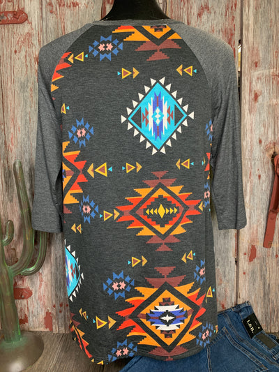 Aztec Tie Front Baseball Shirt - Ropes and Rhinestones