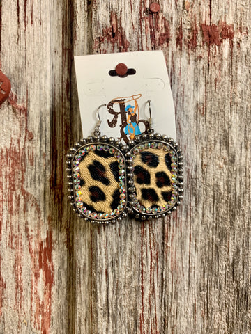Leopard Rhinestone earrings