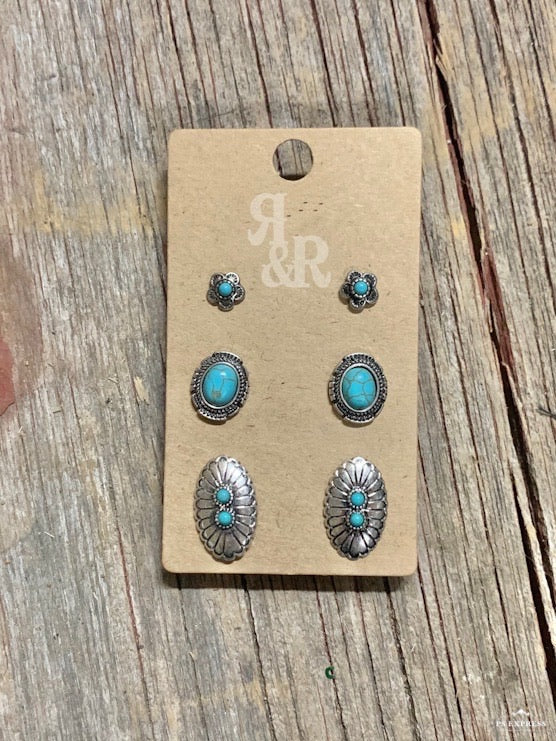Double Turquoise Oval Concho Earring Set