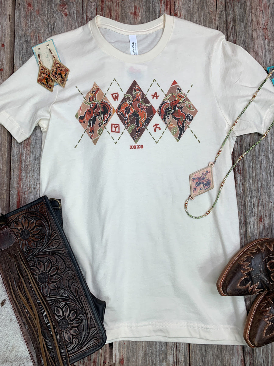 Cowboy Bucking Bronc Argyle T Shirt