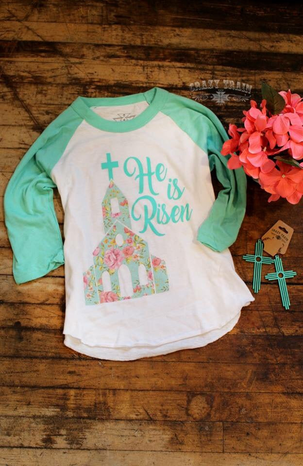 He Has Risen Kids Baseball Shirt