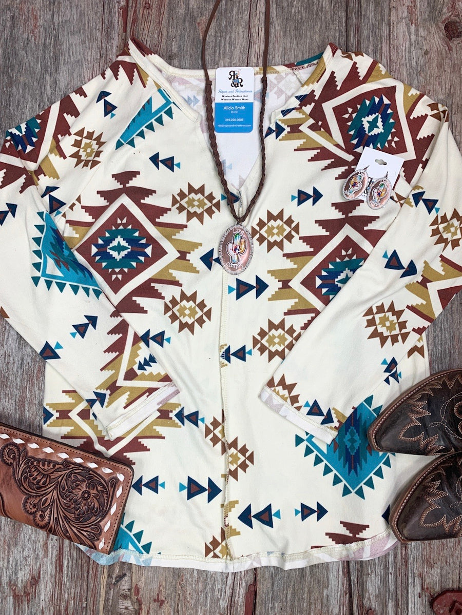 Aztec Cream V Neck Top