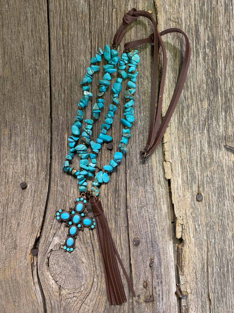 Turquoise & Leather Cross Necklace