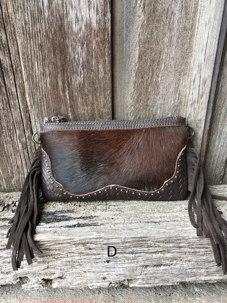 Cowhide Studded Fringe Purse - Ropes and Rhinestones