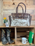 Cowhide & Tooled Leather Buckle Tote