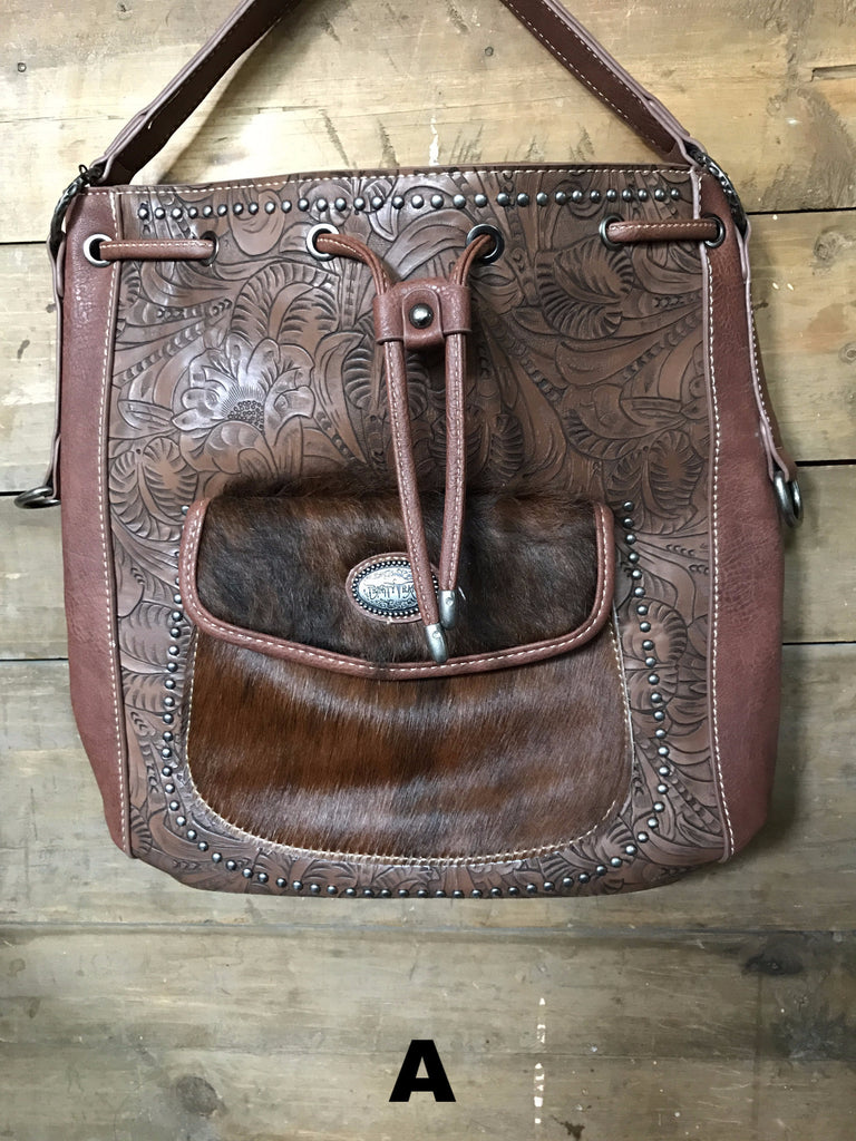 Cowhide Tooled Hobo Bag - Ropes and Rhinestones