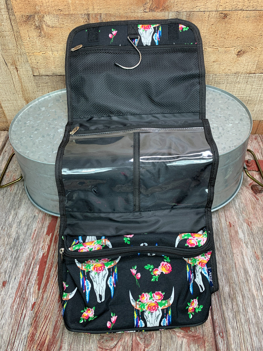 Bull Skull Print Traveling Toiletry Bag
