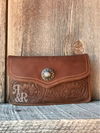 Tooled Leather Concho Clutch