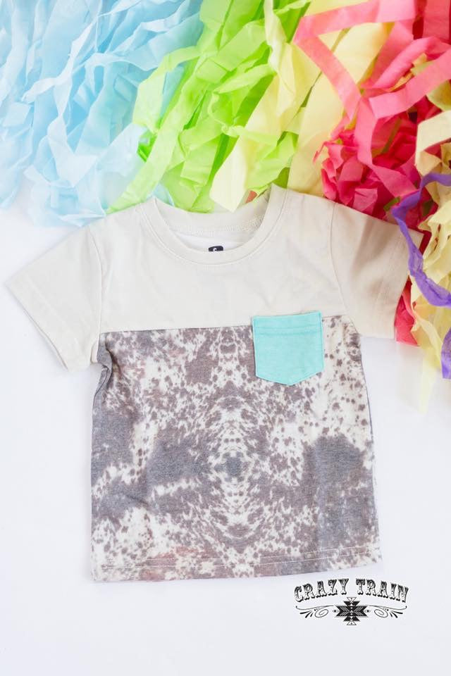 Calf Kid Cowhide Print Pocket Tee
