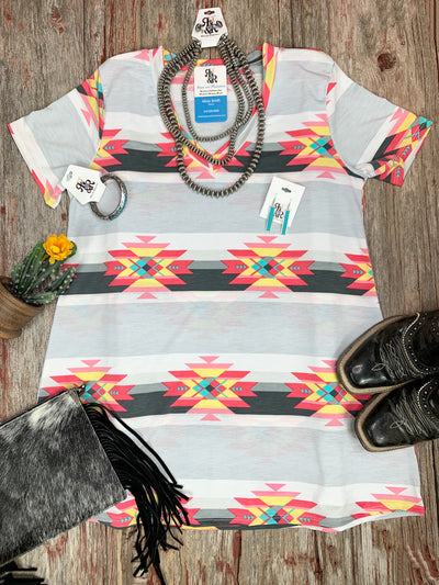 Aztec Grey V Neck Top