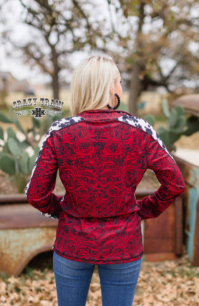 Cowboy Christmas Tooled Leather Pullover