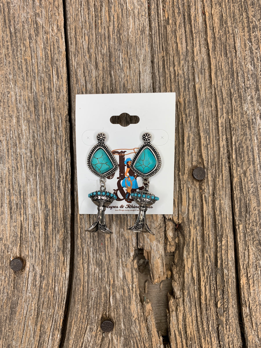 Turquoise & Silver Squash Drop Earrings