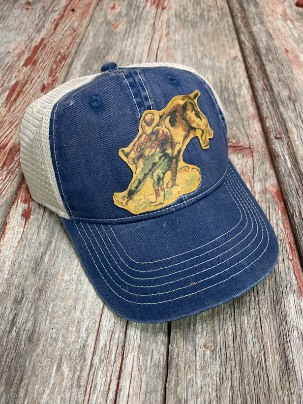 Steer Wrestler Leather Cap