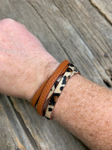 Leather & Leopard Wrap Bracelet