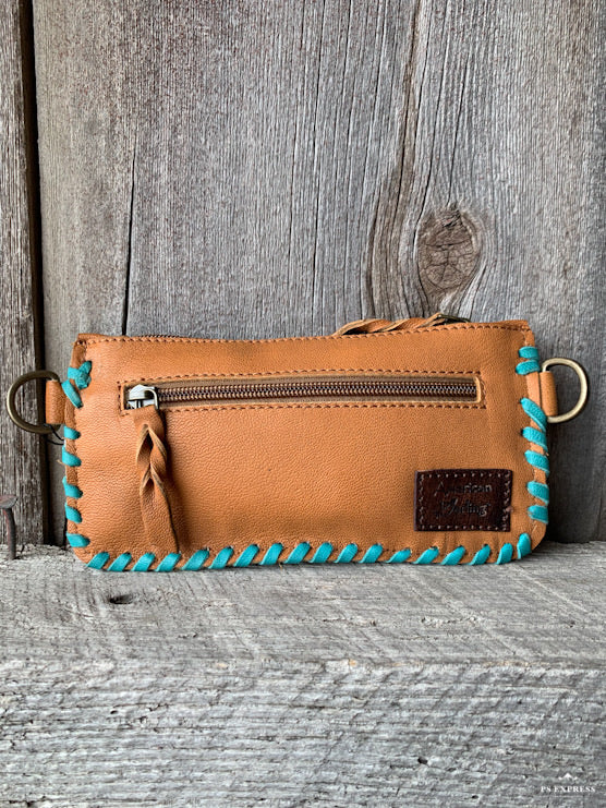 Cowhide Turquoise Whip Stitch Cross Body Purse