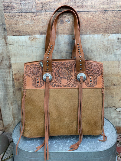 Cowhide Tooled Top Tote