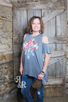 Embroidered Cow Skull Cold Shoulder Top - Ropes and Rhinestones