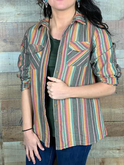 Serape & Cowboy Print Button Down Shirt