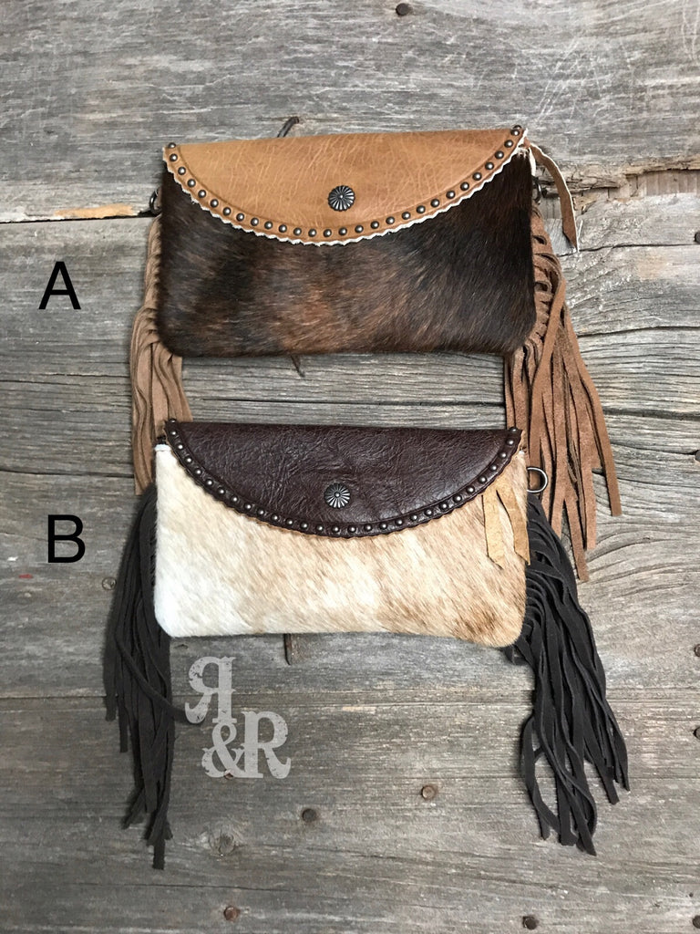 Cowhide and Leather Clutch with Fringe - Ropes and Rhinestones